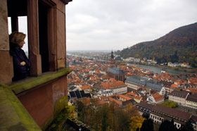 John Deere News Services Manager Mary Doss looks out over Heidelberg and River Neckar from the Schloss Castle